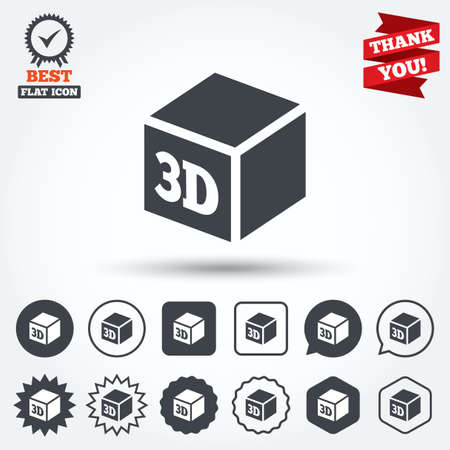 additive: 3D Print sign icon. 3d cube Printing symbol. Additive manufacturing. Circle, star, speech bubble and square buttons. Award medal with check mark. Thank you ribbon. Vector Illustration