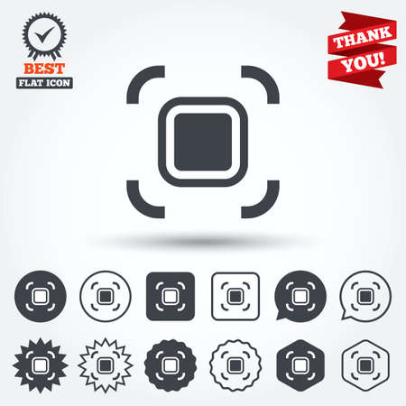 autofocus: Autofocus zone sign icon. Photo camera settings. Circle, star, speech bubble and square buttons. Award medal with check mark. Thank you ribbon. Vector Illustration