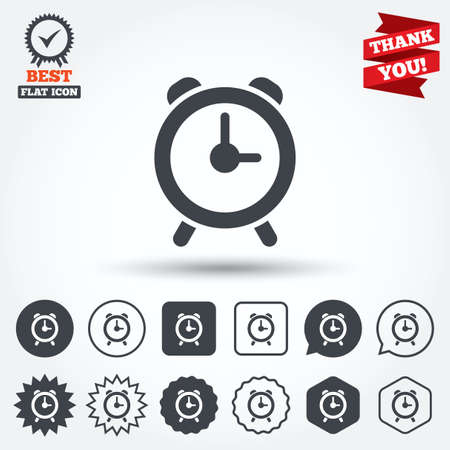 wake up call: Alarm clock sign icon. Wake up alarm symbol. Circle, star, speech bubble and square buttons. Award medal with check mark. Thank you ribbon. Vector