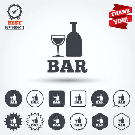 tartaric: Bar or Pub sign icon. Wine bottle and Glass symbol. Alcohol drink symbol. Circle, star, speech bubble and square buttons. Award medal with check mark. Thank you ribbon. Vector