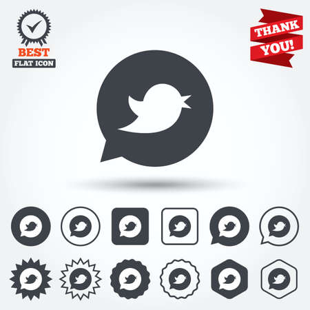 Bird icon. Social media sign. Short messages twitter retweet symbol. Speech bubble. Circle, star, speech bubble and square buttons. Award medal with check mark. Thank you ribbon. Vector