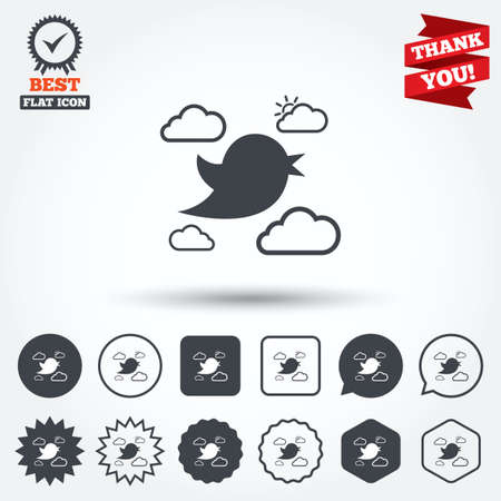 nestling: Bird icon. Social media sign. Short messages symbol. Clouds with sun. Circle, star, speech bubble and square buttons. Award medal with check mark. Thank you ribbon. Vector