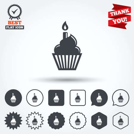 cupcake illustration: Birthday cake sign icon. Cupcake with burning candle symbol. Circle, star, speech bubble and square buttons. Award medal with check mark. Thank you ribbon. Vector