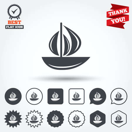 ship sign: Sail boat icon. Ship sign. Shipment delivery symbol. Circle, star, speech bubble and square buttons. Award medal with check mark. Thank you ribbon. Vector