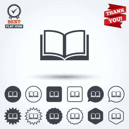 book mark: Book sign icon. Open book symbol. Circle, star, speech bubble and square buttons. Award medal with check mark. Thank you ribbon. Vector