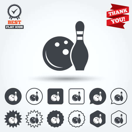 skittle: Bowling game sign icon. Ball with pin skittle symbol. Circle, star, speech bubble and square buttons. Award medal with check mark. Thank you ribbon. Vector
