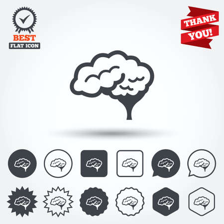 cerebellum: Brain with cerebellum sign icon. Human intelligent smart mind. Circle, star, speech bubble and square buttons. Award medal with check mark. Thank you ribbon. Vector