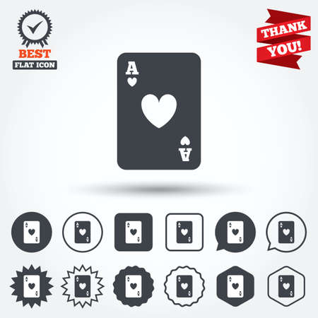ace of hearts: Casino sign icon. Playing card symbol. Ace of hearts. Circle, star, speech bubble and square buttons. Award medal with check mark. Thank you ribbon. Vector
