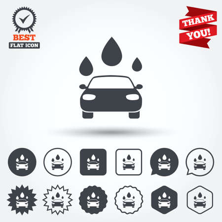 automated: Car wash icon. Automated teller carwash symbol. Water drops signs. Circle, star, speech bubble and square buttons. Award medal with check mark. Thank you ribbon. Vector Illustration