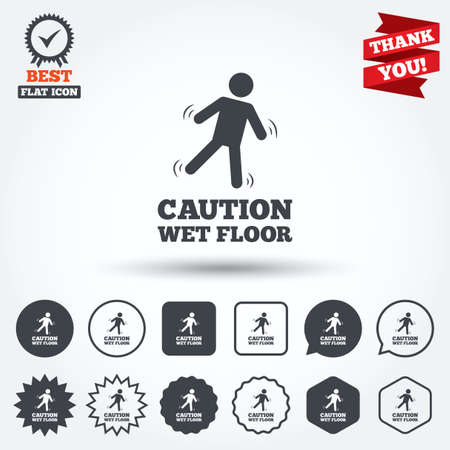 wet floor caution sign: Caution wet floor sign icon. Human falling symbol. Circle, star, speech bubble and square buttons. Award medal with check mark. Thank you ribbon. Vector