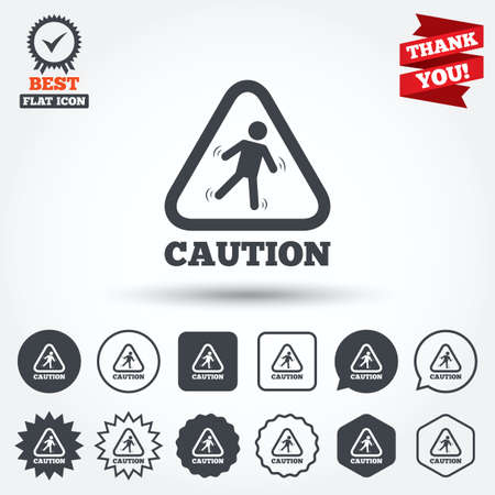wet floor sign: Caution wet floor sign icon. Human falling triangle symbol. Circle, star, speech bubble and square buttons. Award medal with check mark. Thank you ribbon. Vector