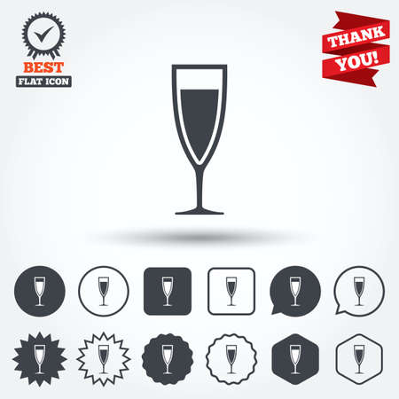 banquet: Glass of champagne sign icon. Sparkling wine. Celebration or banquet alcohol drink symbol. Circle, star, speech bubble and square buttons. Award medal with check mark. Thank you ribbon. Vector