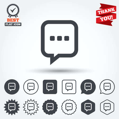 three dots: Chat sign icon. Speech bubble with three dots symbol. Communication chat bubble. Circle, star, speech bubble and square buttons. Award medal with check mark. Thank you ribbon. Vector Illustration