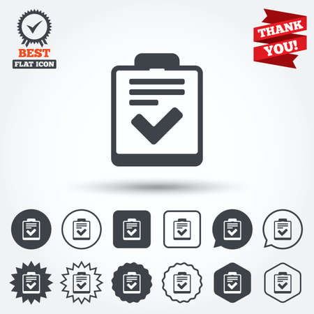 feedback form: Checklist sign icon. Control list symbol. Survey poll or questionnaire feedback form. Circle, star, speech bubble and square buttons. Award medal with check mark. Thank you ribbon. Vector Illustration