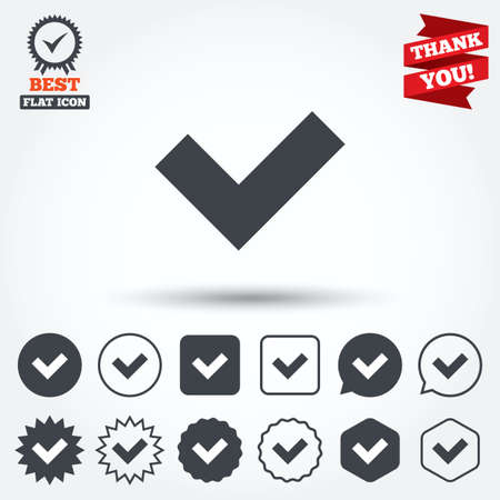 Check sign icon. Yes button. Circle, star, speech bubble and square buttons. Award medal with check mark. Thank you ribbon. Vector Vector
