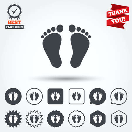 barefoot walking: Child pair of footprint sign icon. Toddler barefoot symbol. Circle, star, speech bubble and square buttons. Award medal with check mark. Thank you ribbon. Vector