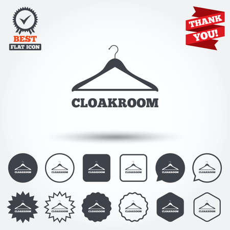 cloakroom: Cloakroom sign icon. Hanger wardrobe symbol. Circle, star, speech bubble and square buttons. Award medal with check mark. Thank you ribbon. Vector Illustration