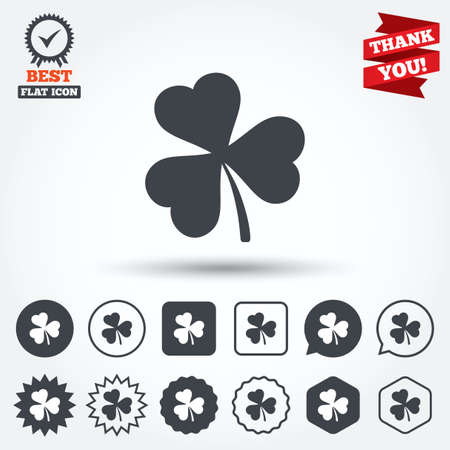 Clover with three leaves sign icon. Trifoliate clover. Saint Patrick trefoil symbol. Circle, star, speech bubble and square buttons. Award medal with check mark. Thank you ribbon. Vector Vector
