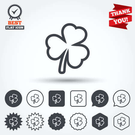clover buttons: Clover with three leaves sign icon. Trifoliate clover. Saint Patrick trefoil symbol. Circle, star, speech bubble and square buttons. Award medal with check mark. Thank you ribbon. Vector