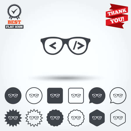 coder: Coder sign icon. Programmer symbol. Glasses icon. Circle, star, speech bubble and square buttons. Award medal with check mark. Thank you ribbon. Vector