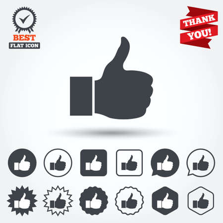 medal like: Like sign icon. Thumb up sign. Hand finger up symbol. Circle, star, speech bubble and square buttons. Award medal with check mark. Thank you ribbon. Vector
