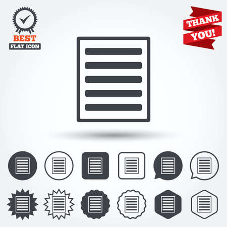 the view option: List sign icon. Content view option symbol. Circle, star, speech bubble and square buttons. Award medal with check mark. Thank you ribbon. Vector Illustration