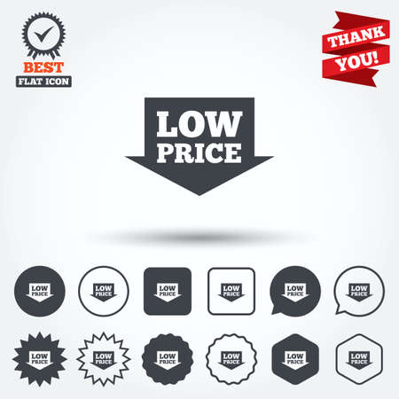 advantageous: Low price arrow sign icon. Special offer symbol. Circle, star, speech bubble and square buttons. Award medal with check mark. Thank you ribbon. Vector