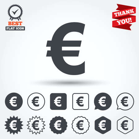 Euro Sign Icon Eur Currency Symbol Money Label Circle Star