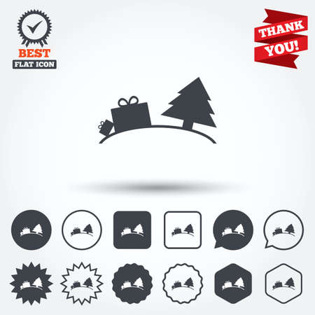 Happy New Year Sign Icon. Gifts Anf Tree. Circle, Star, Speech ...