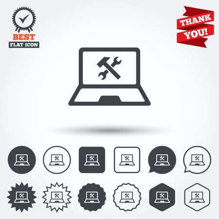 laptop repair: Laptop icono de signo de reparaci�n. Notebook s�mbolo servicio soluci�n. C�rculo, estrella, burbuja del discurso y los botones cuadrados. Medalla de la concesi�n con la marca de verificaci�n. Gracias cinta. Vector Vectores