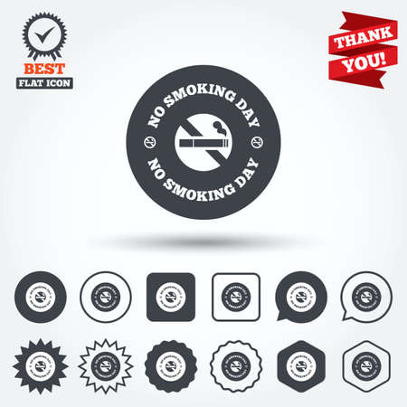 quit: No smoking day sign icon. Quit smoking day symbol. Circle, star, speech bubble and square buttons. Award medal with check mark. Thank you ribbon. Vector