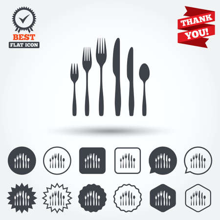 teaspoon: Dessert fork, knife, teaspoon sign icon. Cutlery collection set symbol. Circle, star, speech bubble and square buttons. Award medal with check mark. Thank you ribbon. Vector