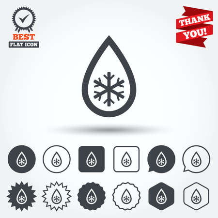 Defrosting sign icon. From ice to water symbol. Circle, star, speech bubble and square buttons. Award medal with check mark. Thank you ribbon. Vector Vector