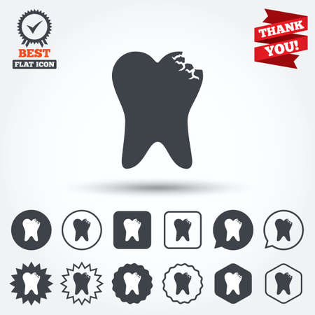 prestige: Tooth crystal icon. Tooth jewellery sign. Dental prestige symbol. Circle, star, speech bubble and square buttons. Award medal with check mark. Thank you ribbon. Vector