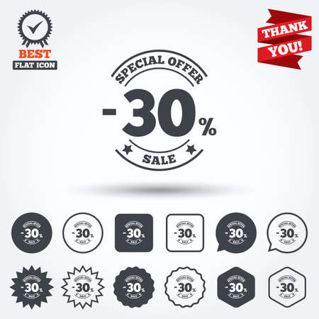 you are special: 30 percent discount sign icon. Sale symbol. Special offer label. Circle, star, speech bubble and square buttons. Award medal with check mark. Thank you ribbon. Vector