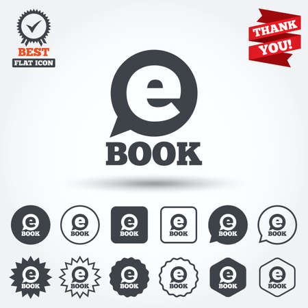 electronic device: E-Book sign icon. Electronic book symbol. Ebook reader device. Circle, star, speech bubble and square buttons. Award medal with check mark. Thank you ribbon. Vector