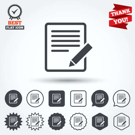 content: Edit document sign icon. Edit content button. Circle, star, speech bubble and square buttons. Award medal with check mark. Thank you ribbon. Vector