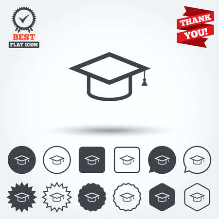 higher quality: Graduation cap sign icon. Higher education symbol. Circle, star, speech bubble and square buttons. Award medal with check mark. Thank you ribbon. Vector