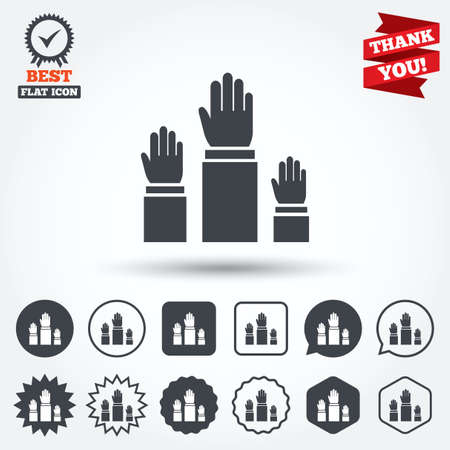 symbol people: Election or voting sign icon. Hands raised up symbol. People referendum. Circle, star, speech bubble and square buttons. Award medal with check mark. Thank you ribbon. Vector Illustration