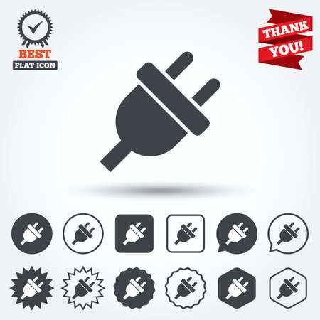 unplugged: Electric plug sign icon. Power energy symbol. Circle, star, speech bubble and square buttons. Award medal with check mark. Thank you ribbon. Vector