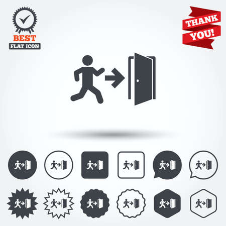 emergency exit label: Emergency exit with human figure sign icon. Door with right arrow symbol. Fire exit. Circle, star, speech bubble and square buttons. Award medal with check mark. Thank you ribbon. Vector Illustration