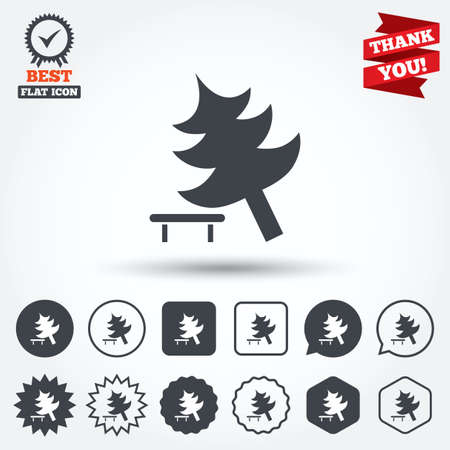 break down: Falling tree sign icon. Caution break down christmas tree symbol. Circle, star, speech bubble and square buttons. Award medal with check mark. Thank you ribbon. Vector