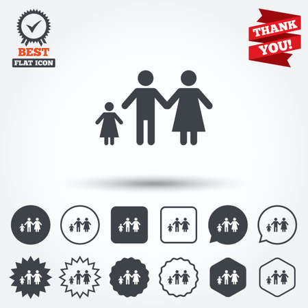 family with one child: Family with one child sign icon. Complete family symbol. Circle, star, speech bubble and square buttons. Award medal with check mark. Thank you ribbon. Vector Illustration