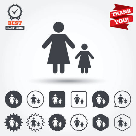 one child: One-parent family with one child sign icon. Mother with daughter symbol. Circle, star, speech bubble and square buttons. Award medal with check mark. Thank you ribbon. Vector