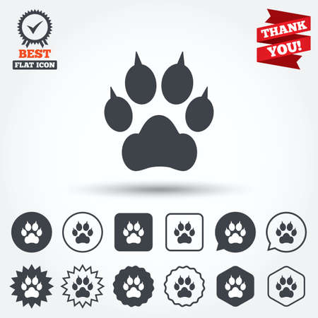 clutches: Dog paw with clutches sign icon. Pets symbol. Circle, star, speech bubble and square buttons. Award medal with check mark. Thank you ribbon. Vector
