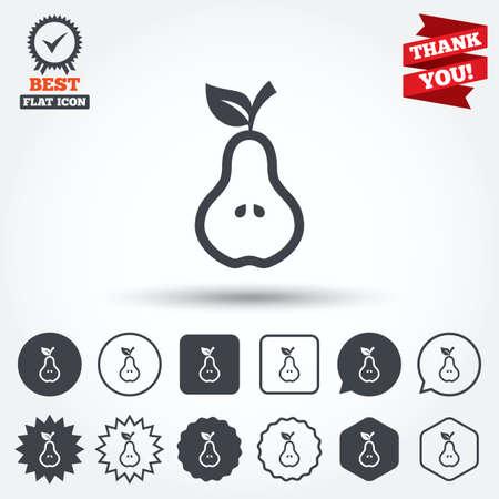 pera: Pera con signo de hoja icono. Frutas con semillas de símbolo. Círculo, estrella, burbuja del discurso y los botones cuadrados. Medalla de la concesión con la marca de verificación. Gracias cinta. Vector