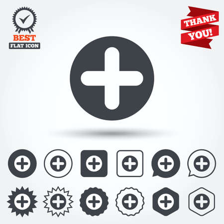 Plus sign icon. Positive symbol. Zoom in. Circle, star, speech bubble and square buttons. Award medal with check mark. Thank you ribbon. Vector Vector