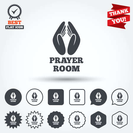 Prayer Room Sign Icon Religion Priest Faith Symbol Pray With