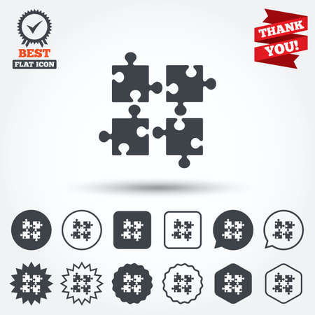 ingenuity: Puzzles pieces sign icon. Strategy symbol. Ingenuity test game. Circle, star, speech bubble and square buttons. Award medal with check mark. Thank you. Vector