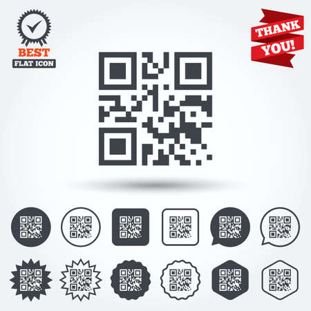 coded: Qr code sign icon. Scan code symbol. Coded word - success! Circle, star, speech bubble and square buttons. Award medal with check mark. Thank you. Vector